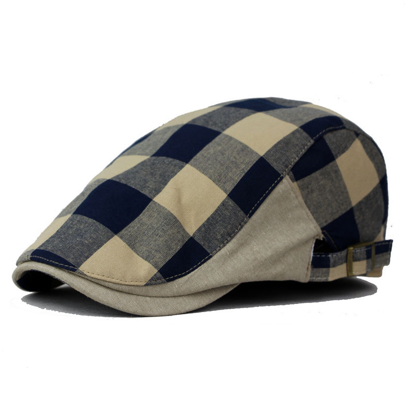 Unisex Cotton Linen Blended Berets Hat Men Plaid Summer Style Fashion Personality Tide Retro Wind Female Visors Cap Hat