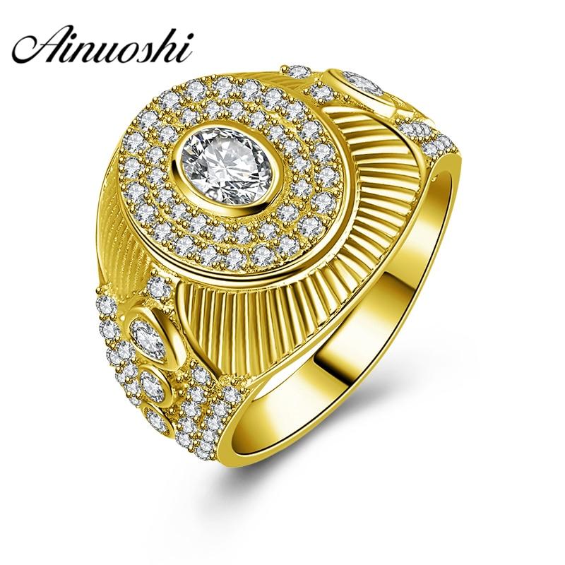 AINUOSHI Luxury 10K Solid Yellow Gold Men Ring 7.7g Wedding Band Geometric Halo Ring Wedding Engagement Gold Jewelry Men Band цена и фото