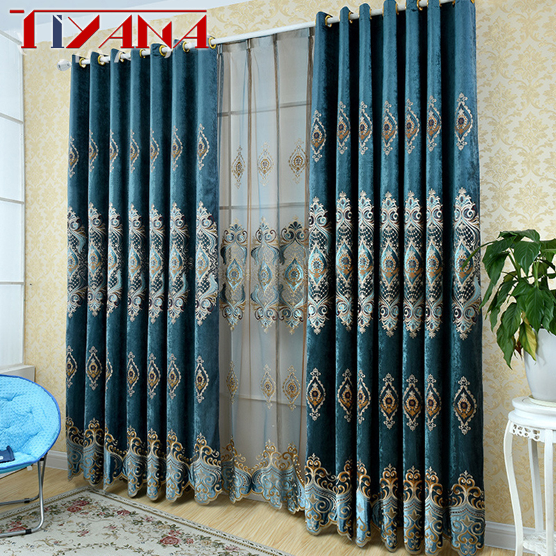 European Royal Luxury Embroidered Blue Blackout Curtains For The