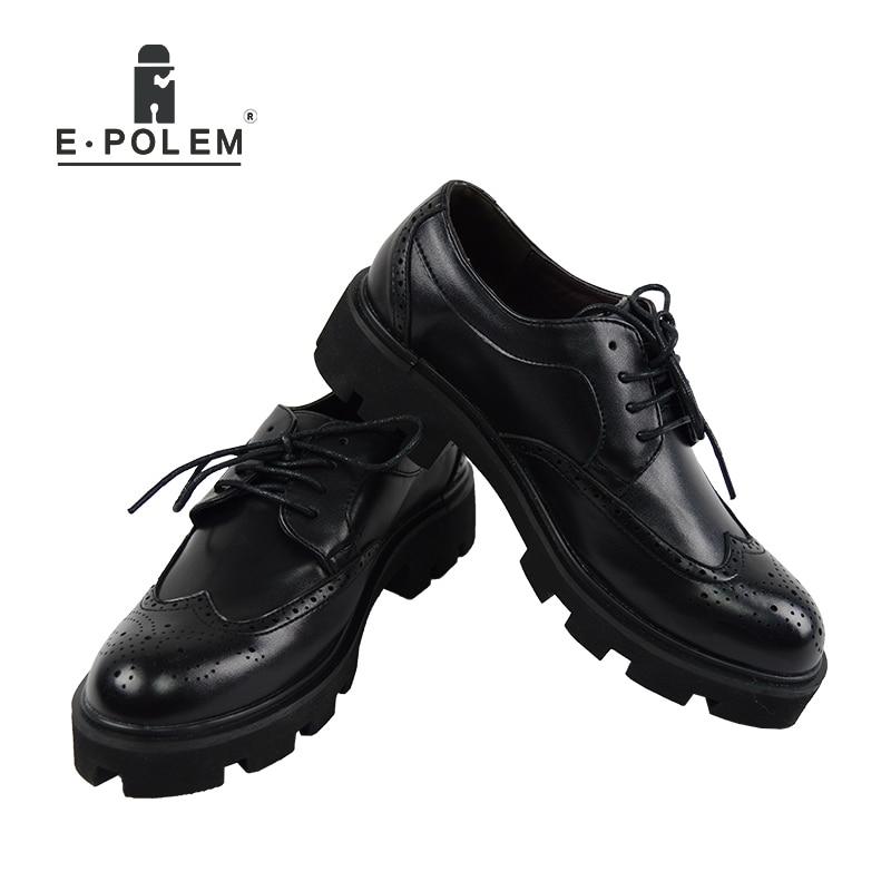 Occasionnels Richelieu Chaussures Relief Lacent Sculpté black Nouvelle Cuir Fond Style Mâle Épais En Britannique Shinny Hommes Black 2018 Matte Mode Respirant 80vmNwn