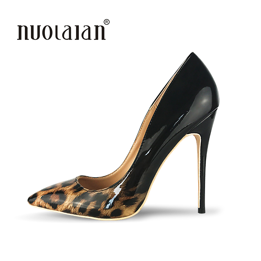 Brand fashion women pumps leopard black high heel pumps shoes for women sexy pointed toe high heels party wedding shoes woman