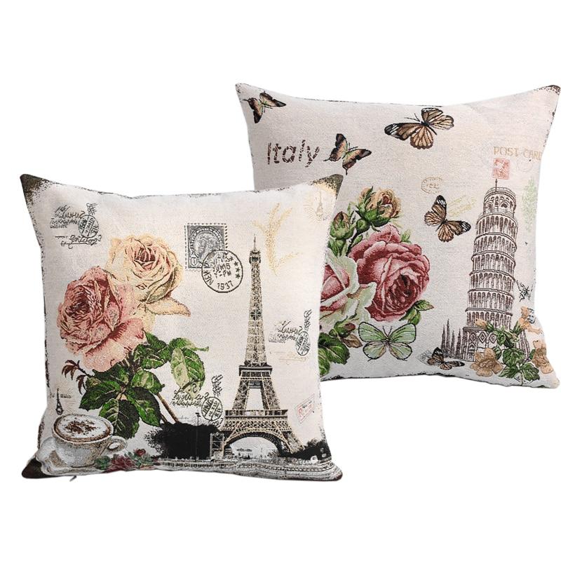 2 шт./лот Франция Эйфелева башня Париж Винтаж Стиль диван Подушки Чехлы для мангала вяза ...