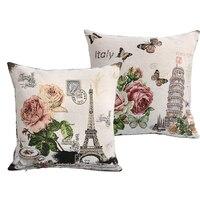 2 pçs/lote França Torre Eiffel de Paris Do Vintage Almofada Do Sofá Estilo Capas de Carro Malha Throw Pillow Caso Praça 45 cm * 45 cm Preço Granel