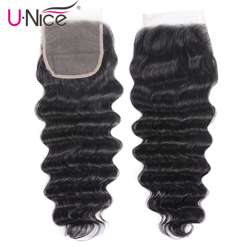 Unice Lace Closure Deep-Wave Brazilian Loose Swiss Free-Part 10--20-remy-Hair