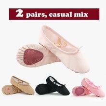 Filles garçons toile coton Ballet chaussures enfants adulte Ballet plat pantoufles enfants semelle souple danse pratique chaussures