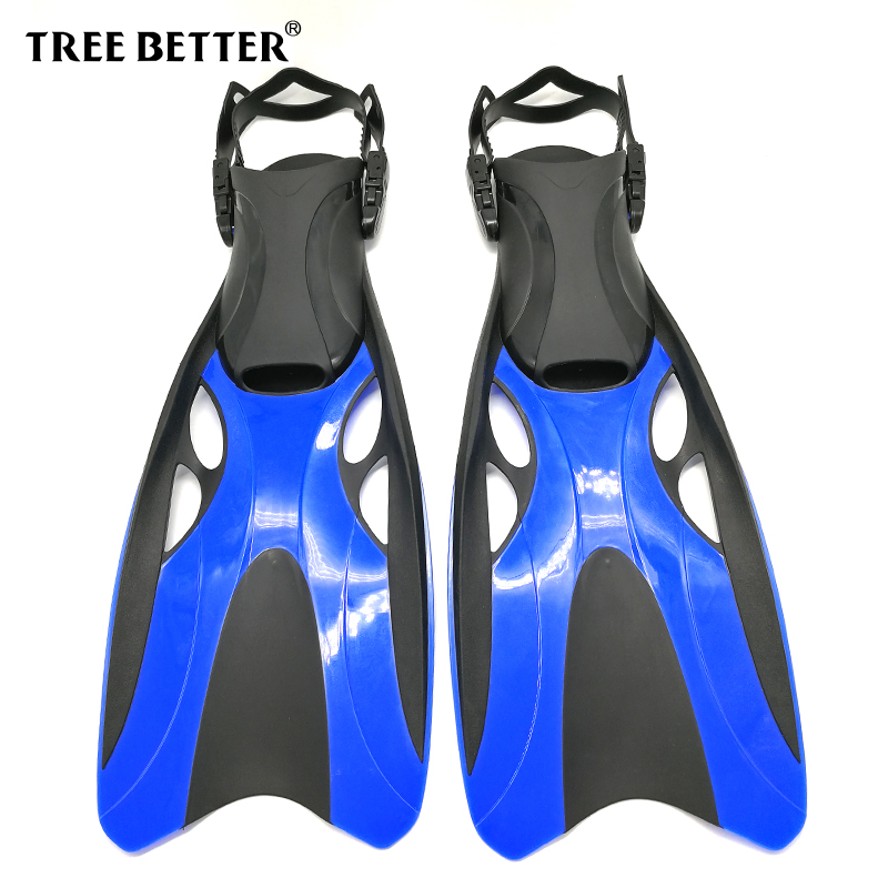 Arbre mieux palmes de natation pour adultes professionnel plongée en apnée talon ouvert palmes de plongée longues palmes Submersible chaussure bleu gris S XL