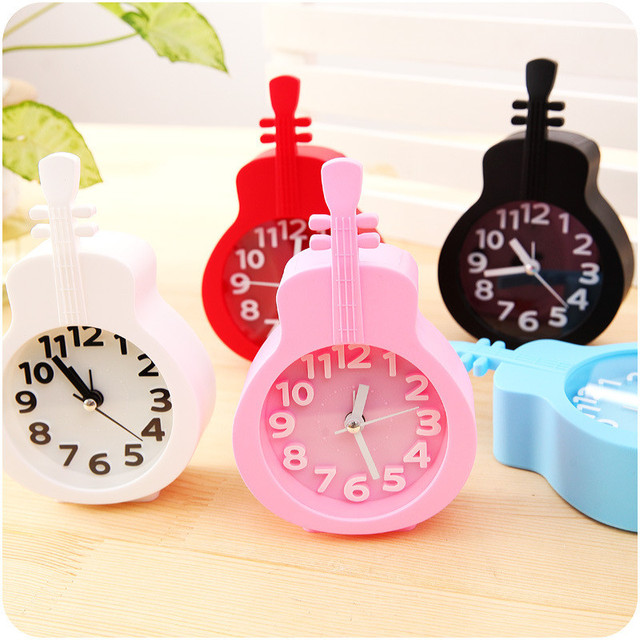 modern 6 candy decoration bike mute clock room desk violin electronic table clocks toy gift for