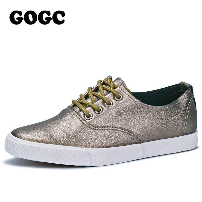 GOGC zapatos planos de mujer transpirables zapatillas de mujer calzado de alta calidad plata negro blanco zapatos planos casuales Slipony 889