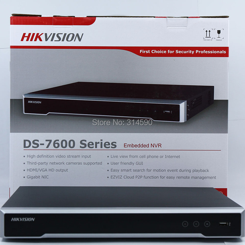 FreeShipping DHL Hikvision DS 7616NI I2 16CH NVR Supporting Third party Camera plug play H 265