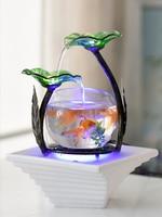 Ceramic fountain desktop humidifier creative birthday gift home small living room aquarium water TV cabinet decoration