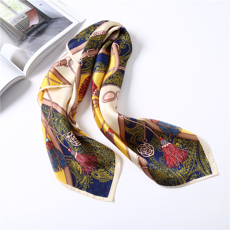2018 New Silk Scarf Women 70*70 Square for Lady Multi-functional Bag Adornment Scarves H ...