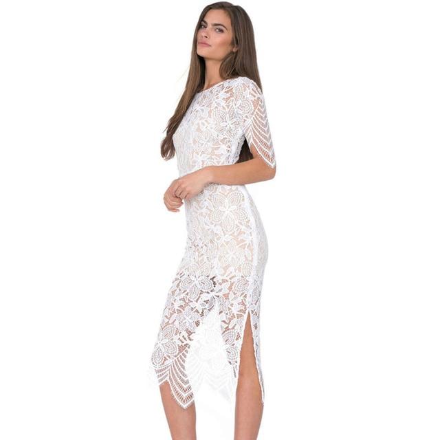 Blanca Mujer Vestidos Vestido Encaje Sexy Luna Verano Ropa De 2015 Blanco qwqCBUxr