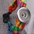 Ethnic Style Handmade Woven Interchangeable 18mm Snaps Bracelet  SL14831