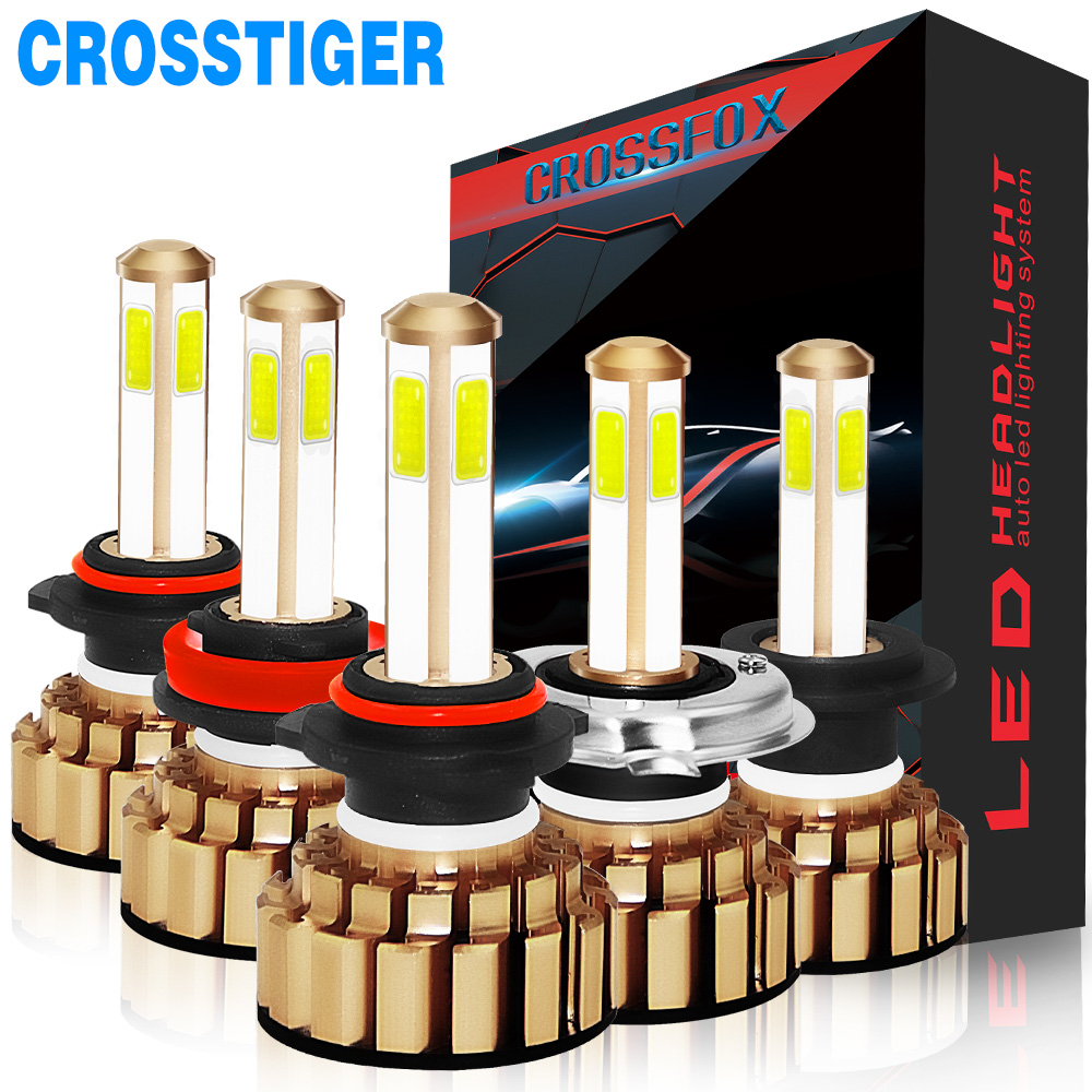 Прожектор 4 стороны чипа H7 H4 светодиодные фары автомобиля огни hb4 9006 hb3 9005 H8 H11 светодиодные лампы 12000Lm 6500 К лампочки для авто
