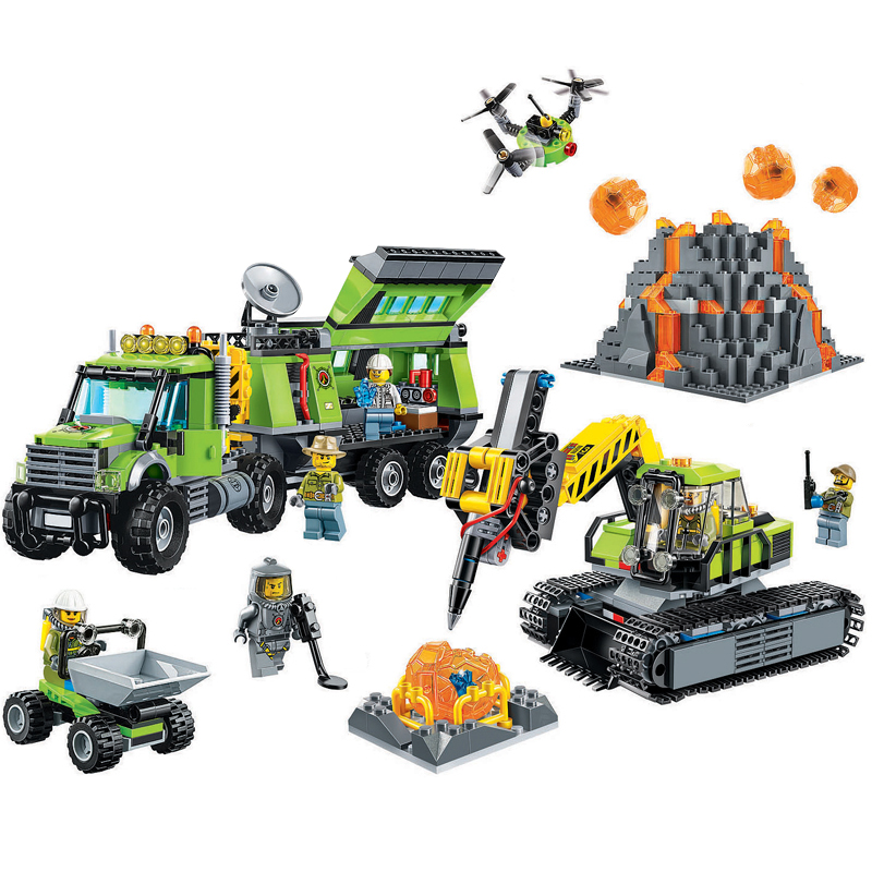 10641 Bela City Series Volcano Exploration Base Geological Prospecting Building Block Bricks Toys for children gifts lepin 02005 volcano exploration base building bricks toys for children game model car gift compatible with decool 60124