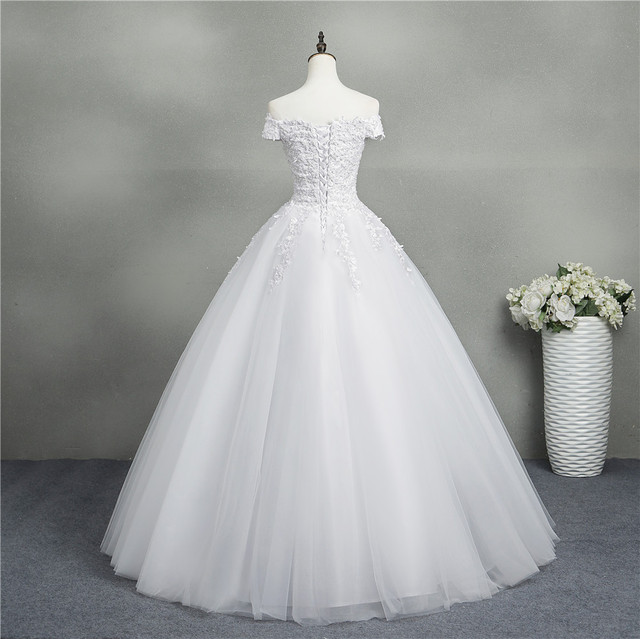 ZJ9145 2020 new White Ivory Elegant Ball Gown Off Shoulder Wedding Dresses for brides Lace sweetheart with lace edge Plus Size 2