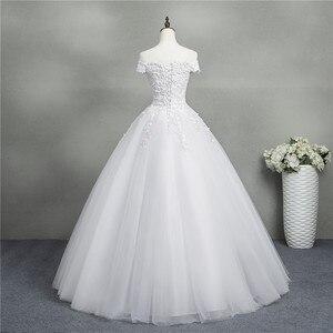 Image 2 - ZJ9145 2019 yeni Beyaz Fildişi Zarif Balo Elbisesi Kapalı Omuz Gelinlik gelinler için Dantel sevgiliye dantel kenar Artı boyutu