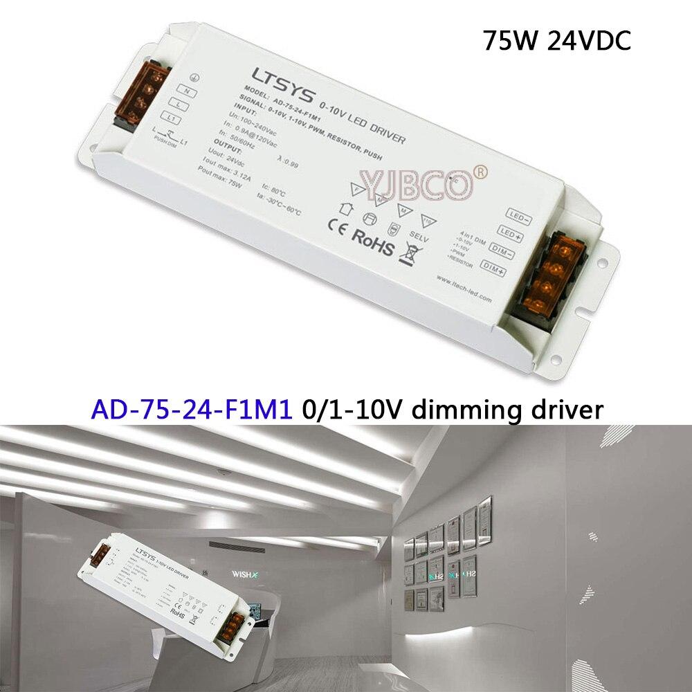 Free Shipping 0/1-10V led dimming driver;AD-75-24-F1M1;AC100-240V input;24V/3.1A/75W output CV Led Driver цена и фото