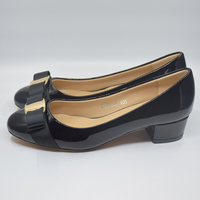 Woman Brand Bow Heels Women Genuine Leather Medium Heel Shoes Pumps Designer Shoes DA028