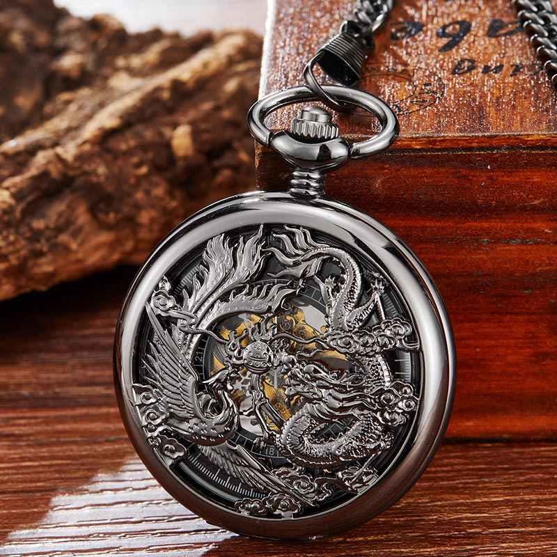 Vintage สีดำนาฬิกา Dragon Phoenix Hand Winding Hollow Fob นาฬิกาผู้ชายผู้หญิง Retro สร้อยคอสร้อยคอของขวัญ