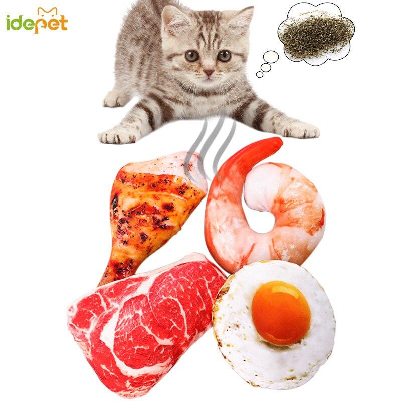 Pet Cat Toy Plush Canvas Bite Toys Catnip Cite Vocal Creative Simulation Vegetable Chicken Bone