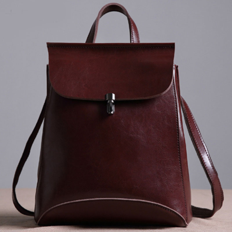 2017Solid Genuine leather luxury Women Backpack Fashion All-match Simple Women bag College style Lock Bag Black Brown and Coffee women backpack fashion pvc faux leather turtle backpack leather bag women traveling antitheft backpack black white free shipping