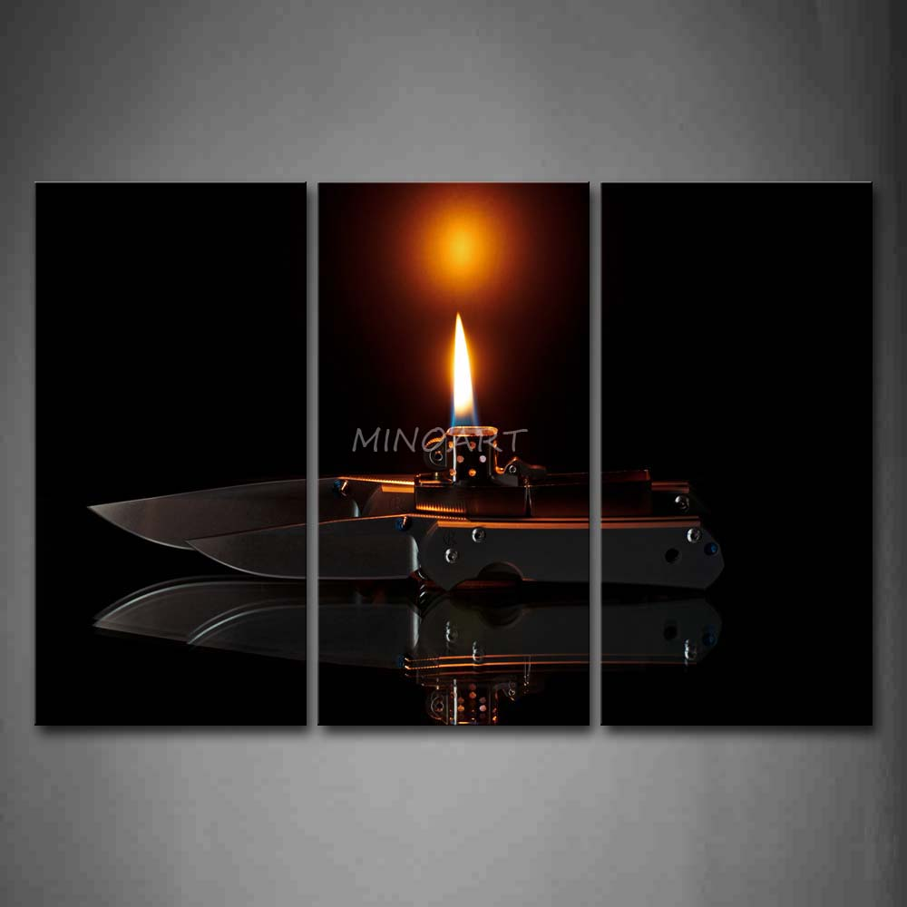 3 Piece Wall Art Painting Fire In Lighter And font b Knife b font Print On