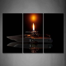 3 Piece Wall Art Painting Fire In Lighter And Knife Print On Canvas The Picture Art 4 Pictures Oil Prints For Home Decor