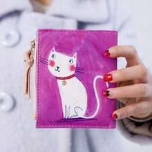 Creative Painting Wallet for Women Short Animal wallet Zipper Coin Purse Fancy Printing Pu Leather Small Handy Bag 126