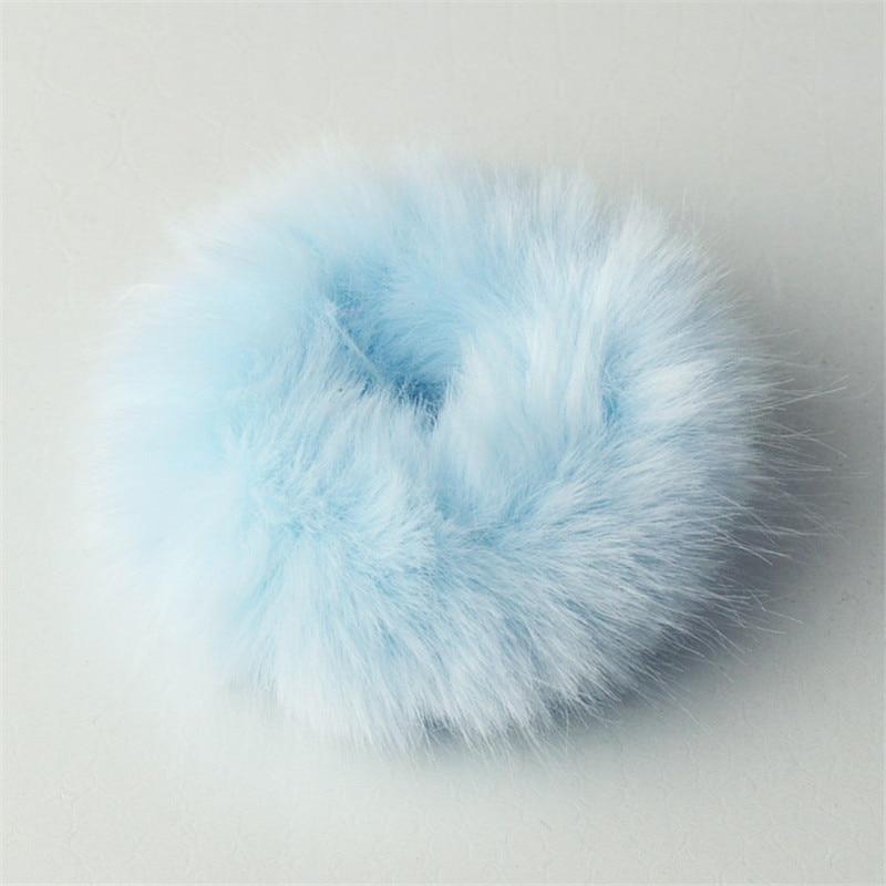 Резинки для волос резинка для волос Милые эластичные резинки для волос для девочек, искусственный мех, резиновое кольцо, веревка, пушистый бант аксессуары для волос, пушистая резинка на голову - Цвет: C11