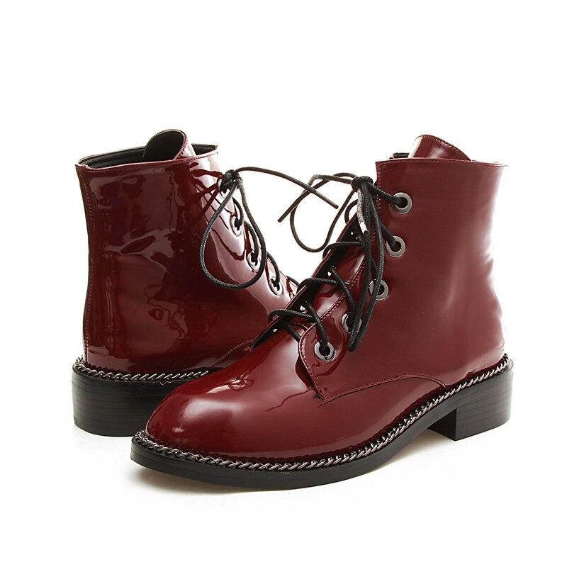 Rouge Bottes 1 Cuir Sabot style Équitation Cheville Style 1 2 Talon Verni Chaussures 1543 Automne Noir Lace Femmes Boot Casual De Ymechic style 3 Chevalier Up Chaînes En 3ALq54Rj