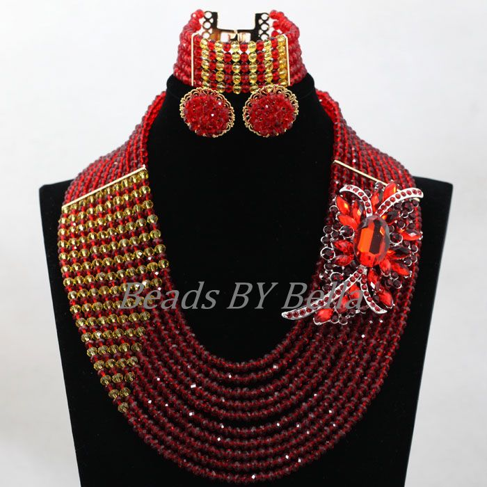 Amazing Red Nigerian Wedding African Beads Jewelry Set Costume African Jewelry Sets Bridal Beads Necklace Free Shipping ABL001 amazing red nigerian wedding african beads jewelry set costume african jewelry sets bridal beads necklace free shipping abl001