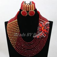 Amazing Red Nigerian Wedding African Beads Jewelry Set Costume African Jewelry Sets Bridal Beads Necklace Free Shipping ABL001