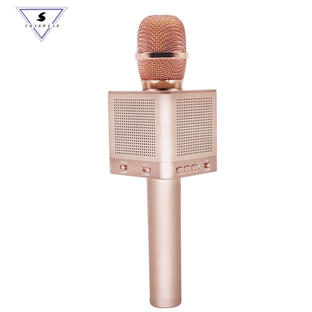 купить Q10s Bluetooth wireless professional karaoke microphone Speaker smart phone bass Karaoke wireless 4 speaker shocking family KTV по цене 3198.6 рублей