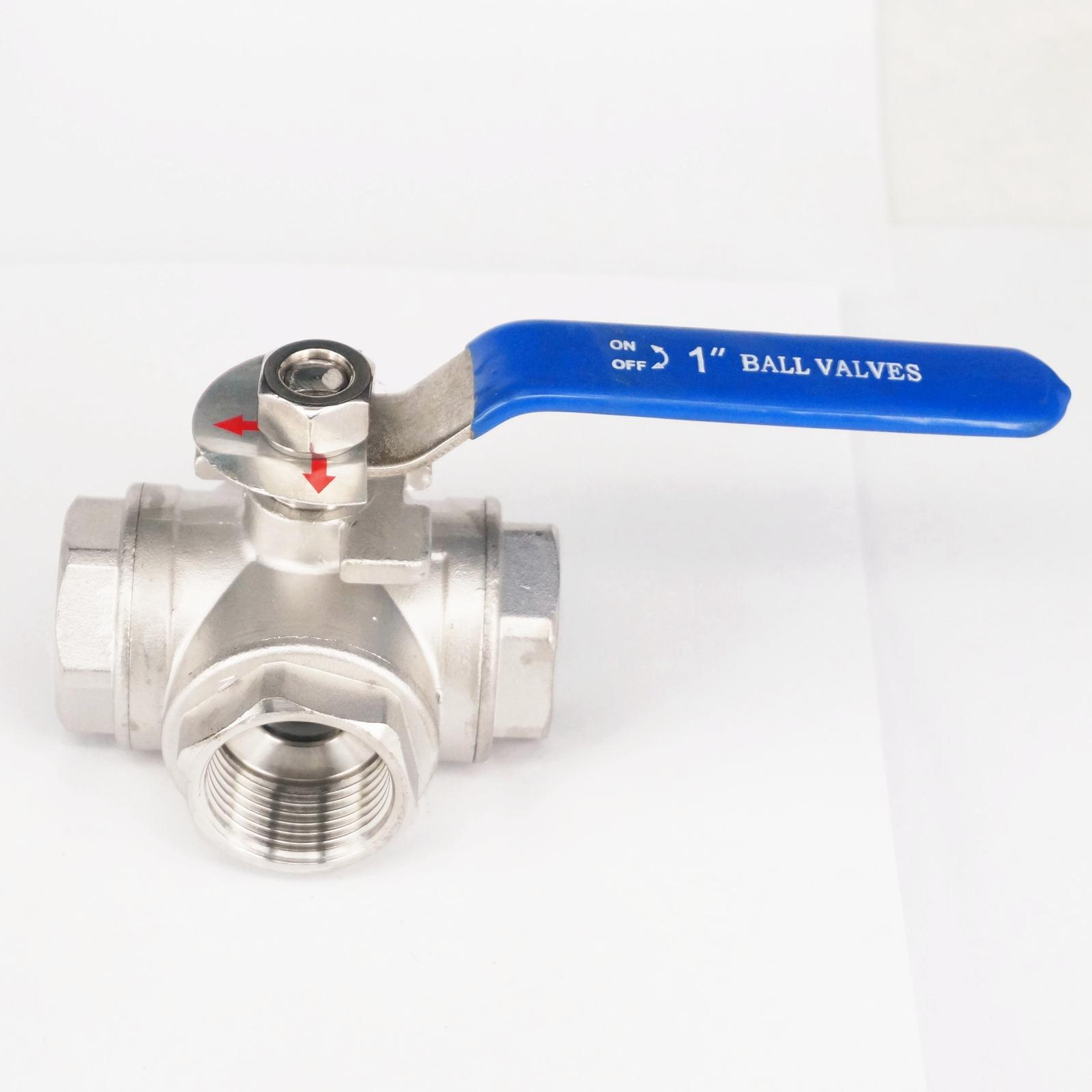 DN25 1 BSP Female Thread 304 Stainless Steel 3 Way T Port Ball Valve oil water air 229 PSI 1 2 bsp female 304 stainless steel flow control shut off needle valve 915 psi water gas oil