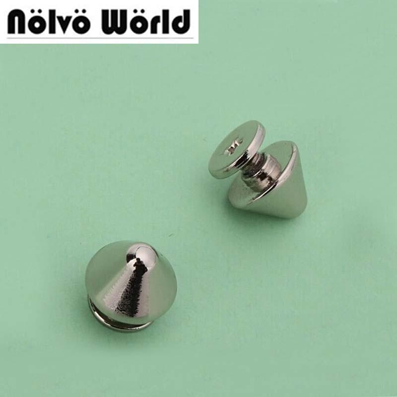 cd2903ab67 10*7mm turriforme testa d'argento borchie per punk borse hardware in lega  di zinco del metallo rivetto vite accessori 100 pezzi/pacco in 10*7mm  turriforme ...