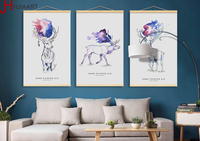 Vintage Abstract Watercolor Deer Head Wooden Framed Canvas Paintings Triptych Home Decor Wall Art Print Pictures Poster