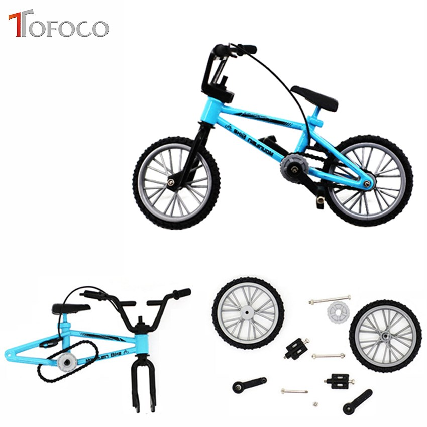 TOFOCO Alloy Mini Finger BMX Toys Hand Mountain Bike Model With Spare Tire Tools Bicycle Kids Toy Three Color