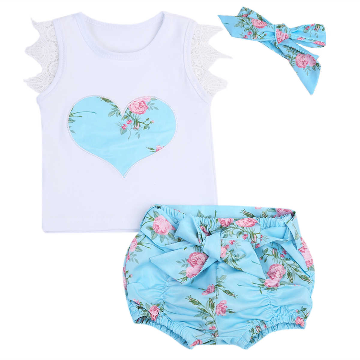 36b86b3e4 3pcs  set Newborn Baby Girls Flowers Vest Top + Shorts Bottom +Headbands  Summer Lace