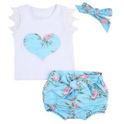 3 pçs/set Flores Das Meninas Do Bebê Recém-nascido Colete Bermuda Top + Inferior + Headbands Rendas Menina Miúdo Roupas de Verão Set 0-3 T