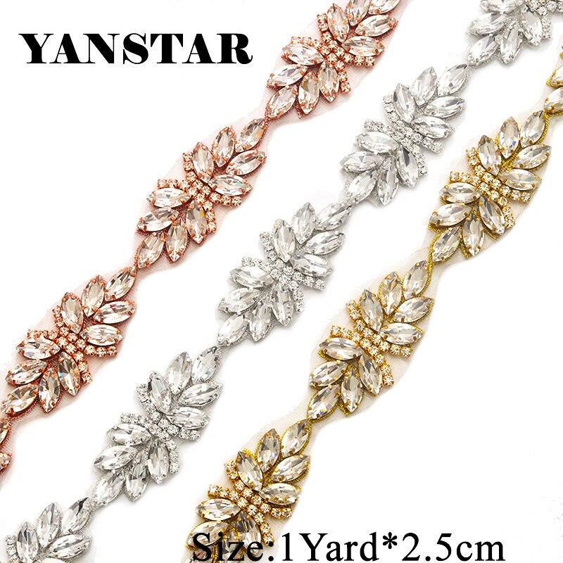 d598969b4e5 YANSTAR 1 ярд Rhinestone Аппликации для свадебное платье Ремни ясно розовое  золото Кристалл Аппликации для свадебное