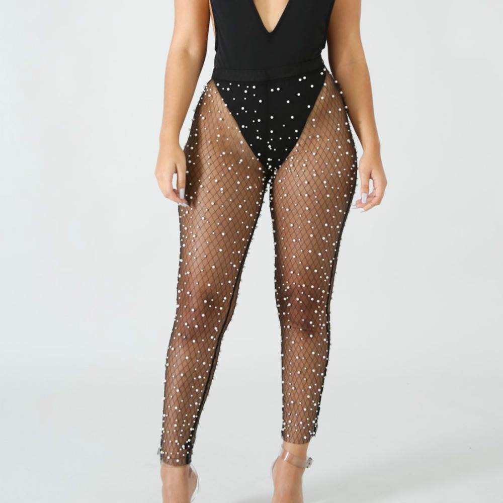 Mesh Net Breading Perspective Pants See Through Transparent Solid Ankle Length Pants Beach Long Party Trousers Women