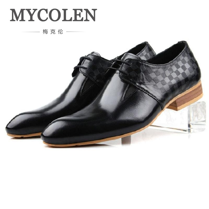 men flats fashion high quality genuine leather shoes men lace up business men shoes male formal dress shoes brogue spring MYCOLEN Spring And Autumn High Quality Oxford Shoes Men Lace-Up Business Dress Shoes Genuine Leather Male Formal Shoes