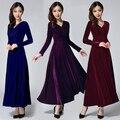 Mulheres inverno plus size velvet dress manga longa maxi dress evening party dress preto azul verde roxo longo vestido do vintage