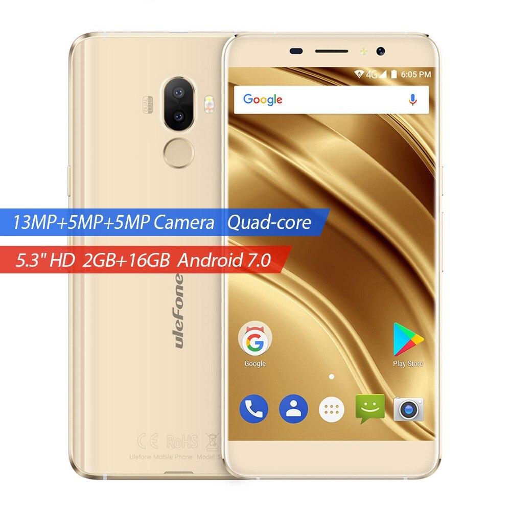 Ulefone S8 Pro Dual Rear Cameras Mobile Phone 5.3 inch MTK6737 Quad Core Android 7.0 2GB+16GB 13MP Cam Fingerprint ID Smartphone