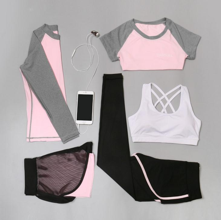 5 Piece Set Women Yoga Clothes Outdoor Fitness Running Clothes Patchwork Yoga Bra Shirt Elastic High Quality Sports Suit 2017 women yoga sets 3 pieces t shirt bra pants fitness workout clothing women gym sports tops running slim leggings sport suit