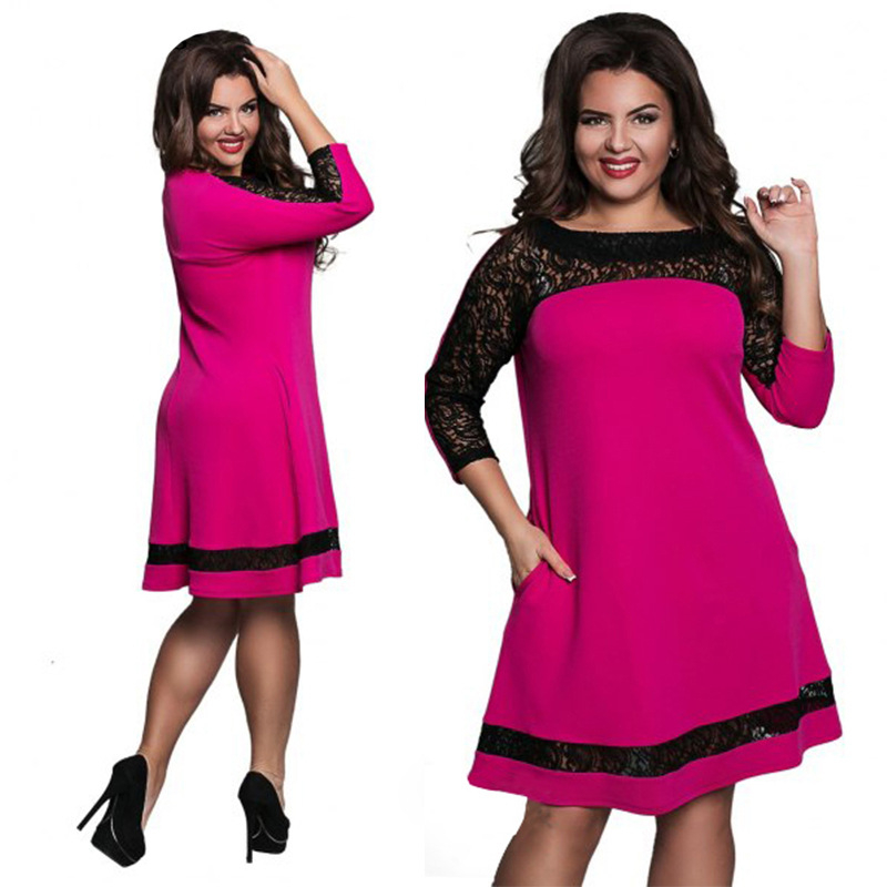 Arthsdite Plus Size S 6XL Flower Lace Office Dress Casual Sexy Women Dress  Clothing Large Size Self Portrait Dress Pink Vestidos-in Dresses from  Women s ... 7b84ed4c5acb