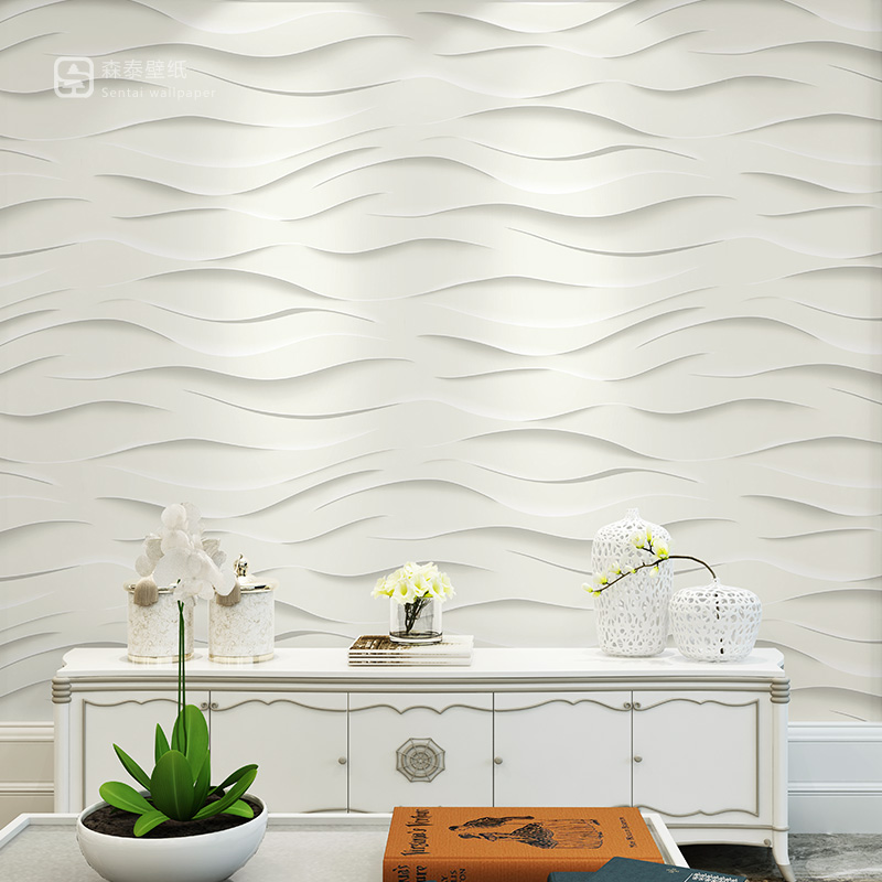 Modern Simple Stripes White 3D Wavy Lines Wallpaper Living Room Bedroom Dining Room TV Background Wallpaper 3d