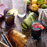 British Relief Retro Sun Flower Glass High Quality Multicolor Padded Transparent Handmade Juice Tea Cup Free