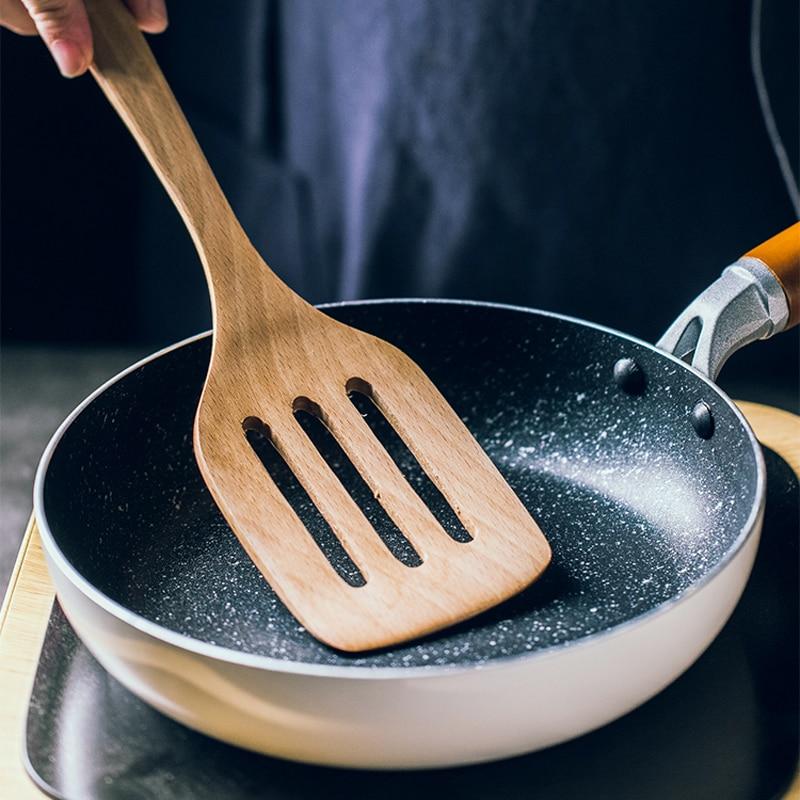 2Pcs Kitchen Utensils Turners Non-stick Wooden Turner Spatula Cooking Set Long Handled Slotted Turner Mixing Food Pancake Shovel (9)